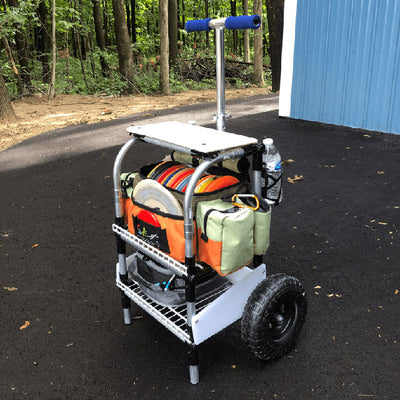 Rolling Disc Golf Storage Cart With Lid And Big Tires