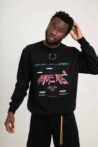 RETRO ARCADE GAMES SWEATSHIRT  BLACK | UNISEX