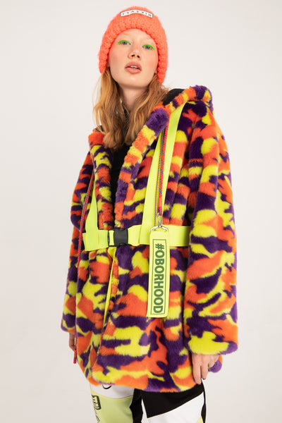 HI VIS CAMO Fur Jacket
