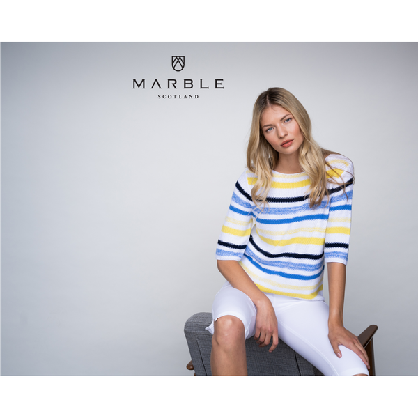 Marble Stripe 3/4 Cotton Jumper