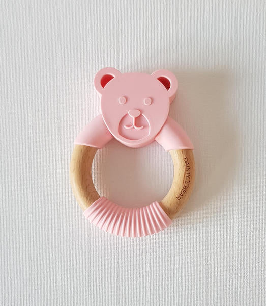 Dainty Bear Silicone + Wood Teether