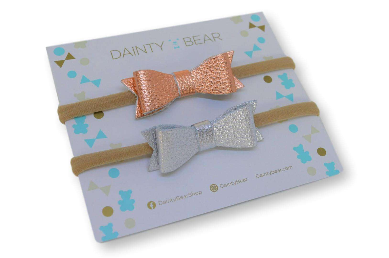 Rose Gold and Silver Leather Bow Hairband - Dainty Bear