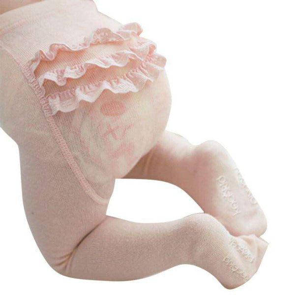 Dainty Bear Frilly Bottom Tights in Baby Pink full picture back