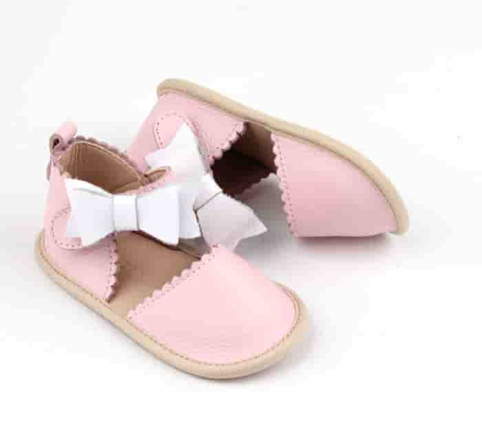 baby bow leather sandal cover toe