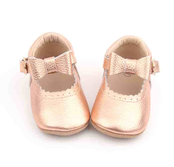 Rose Gold Moccasin Bow Shoes