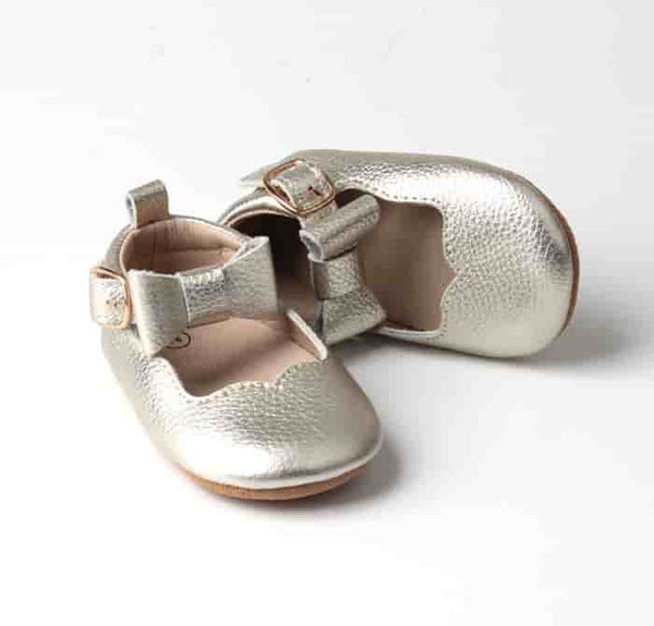 Gold Mary Jane moccasins baby shoes