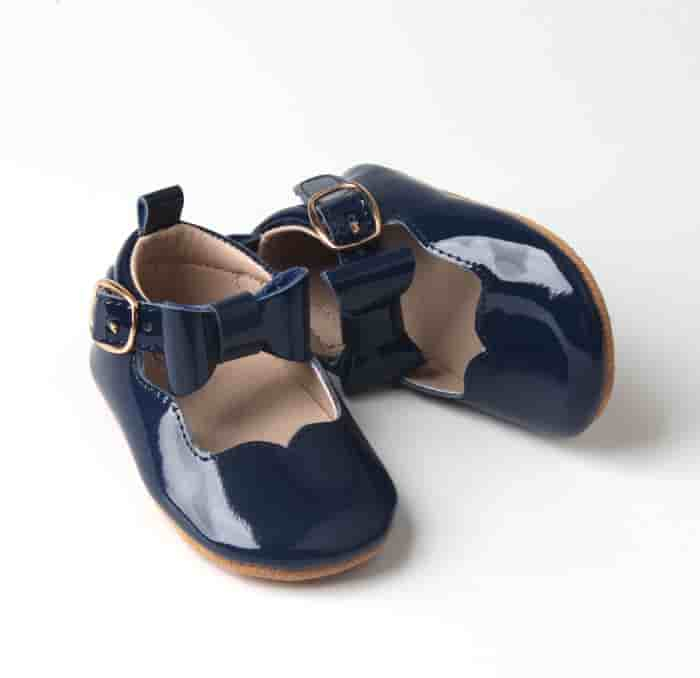 Navy patent Mary Jane moccasin baby shoe