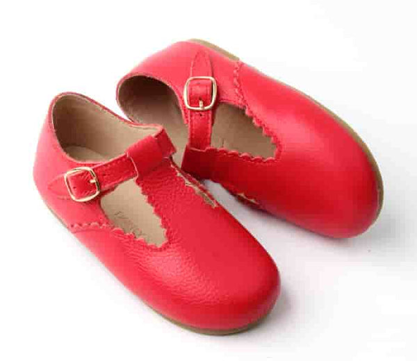 Hard Sole Scallop Trim Leather T-bars Shoes in Red