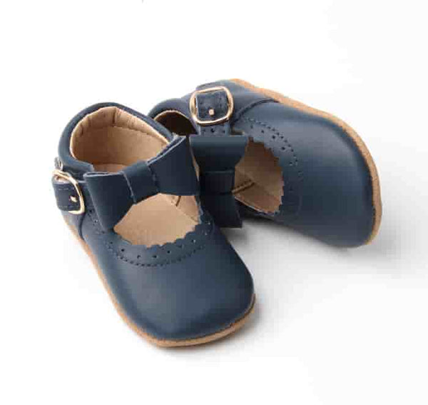 Navy detachable bow moccasin t-bar