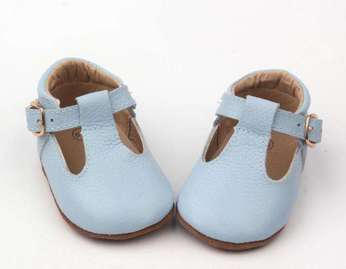 Baby Blue Mary Jane T-bar shoes girls boys front view