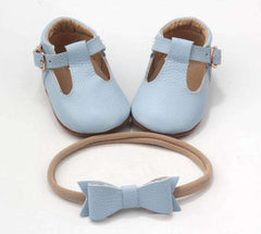 Baby Blue Mary Jane T-bar shoes girls boys matching bow