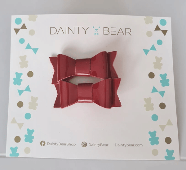 Red Patent Medium Bow Clips x 2