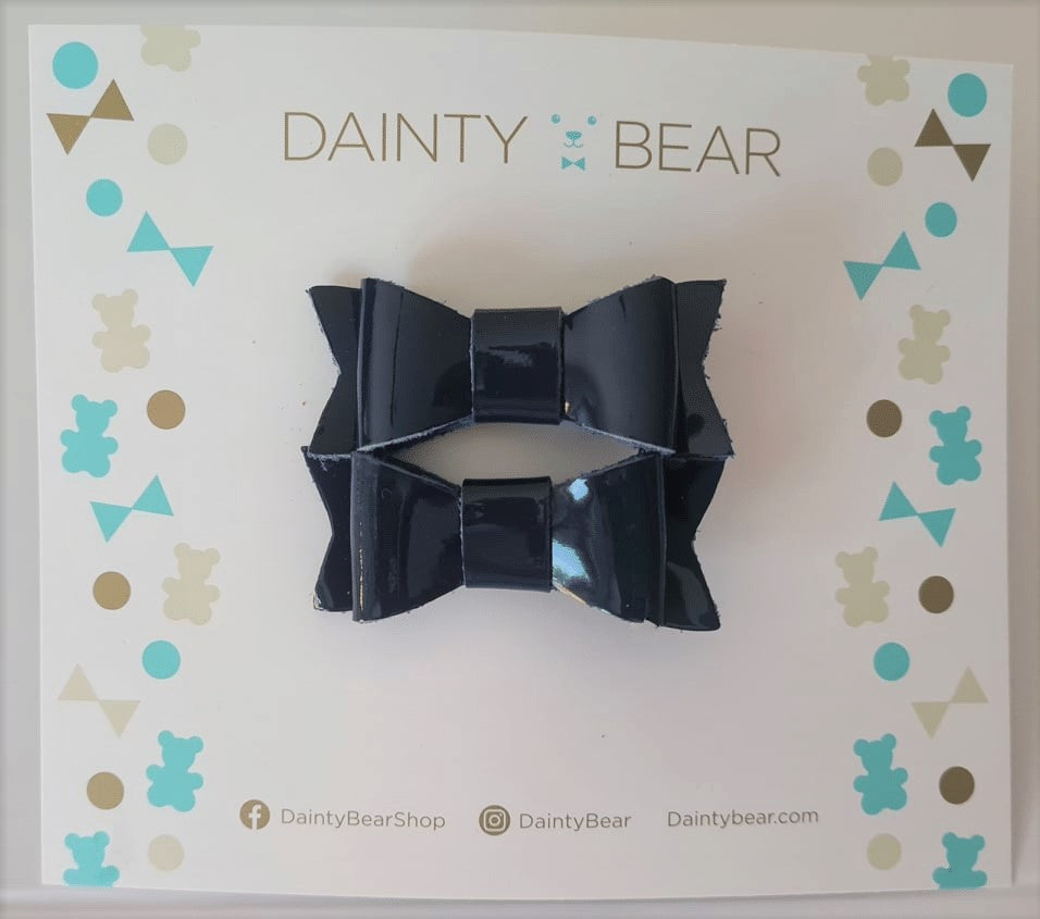 navy patent baby bow clip