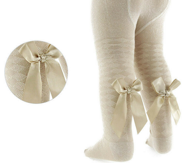 beige bow tights baby