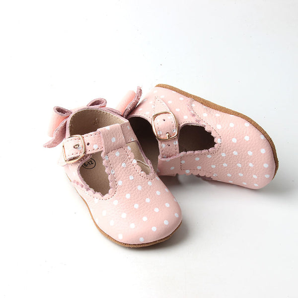 pre-walker pink polka dot leather t-bar
