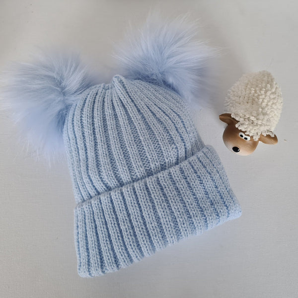 Baby blue Double pom pom hat