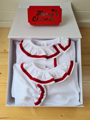 Frilly Collar christmas vest and baby grow gift set