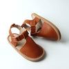 Lily leather brown tan summer sandals for kids