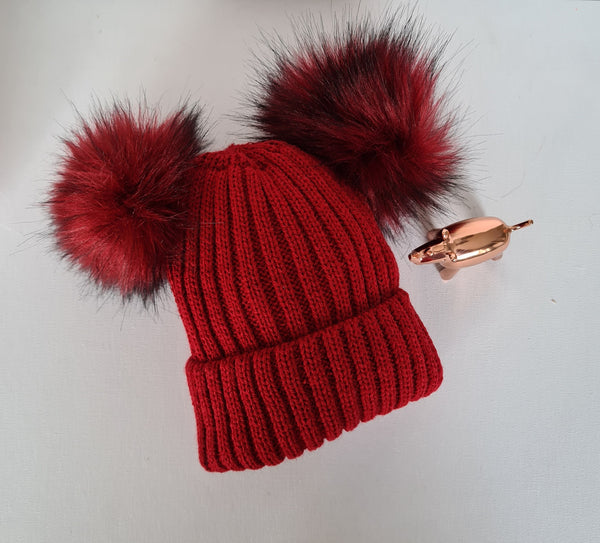 Winter Red Double Pom Pom Hat
