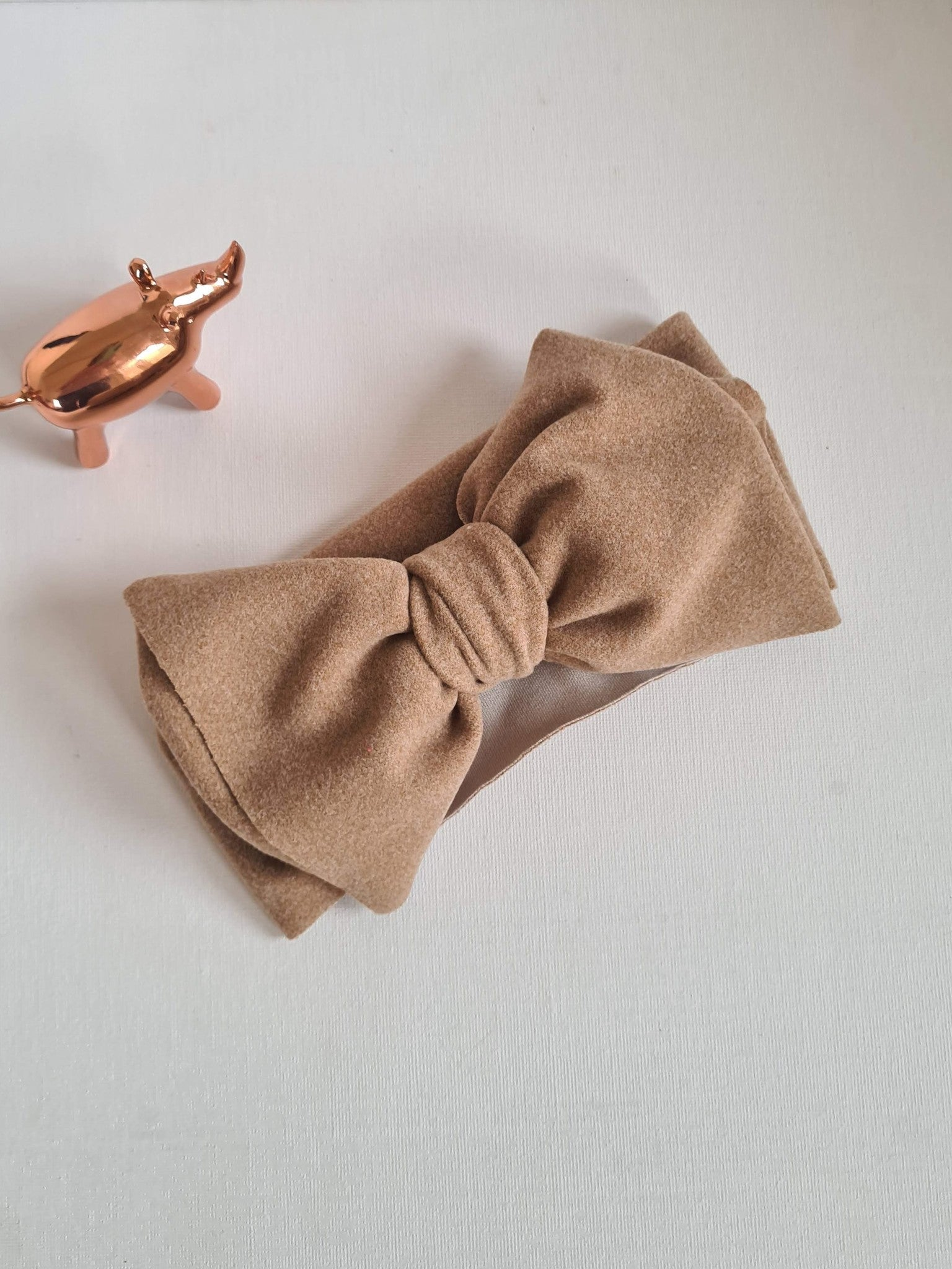 baby bow turban soft feel beige