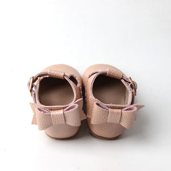 Pre-walker blush pink bow  leather t-bar