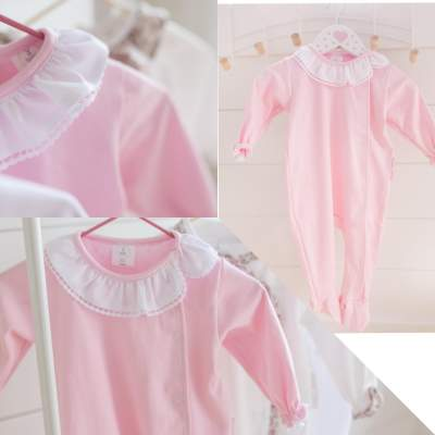 Pink and White Frilly Collar Baby Grow