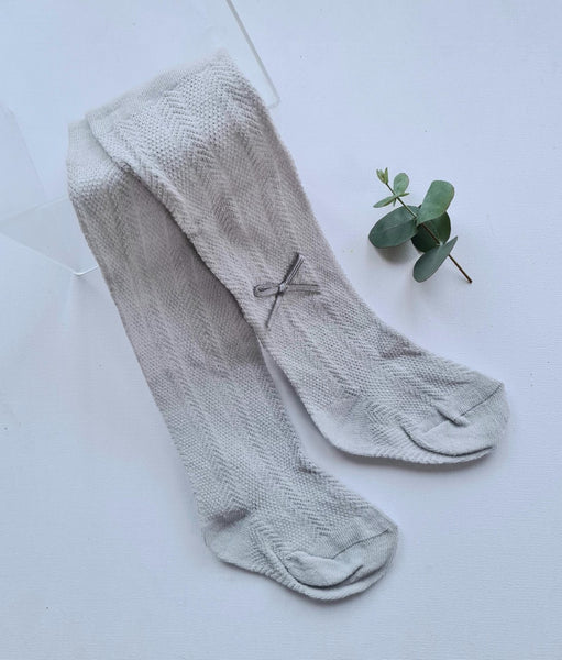 Light Grey baby bow tights