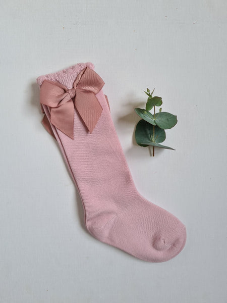 Dainty Knee High Ribbon Socks in Pink