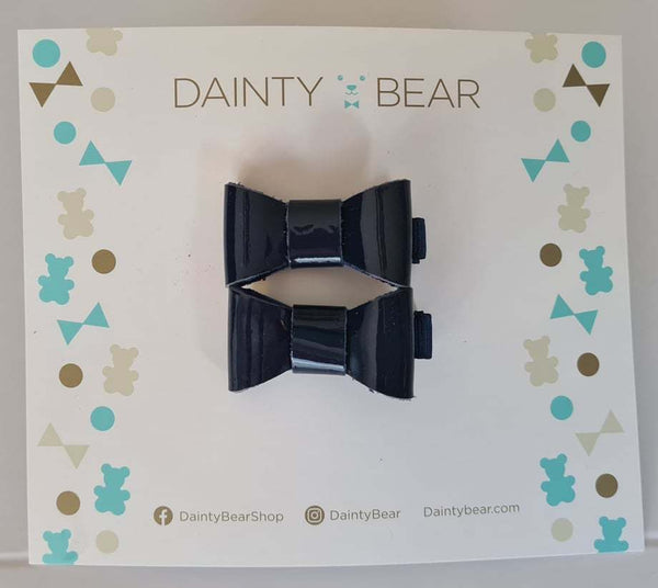 Small Navy Patent Bow Clips x 2
