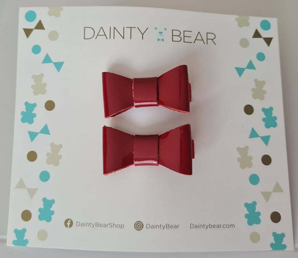 Small Red Patent Bow Clips x 2