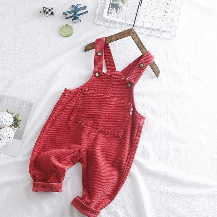 red corduroy kids dungarees