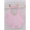 Frilly  trim occasion christening  pink baby bib