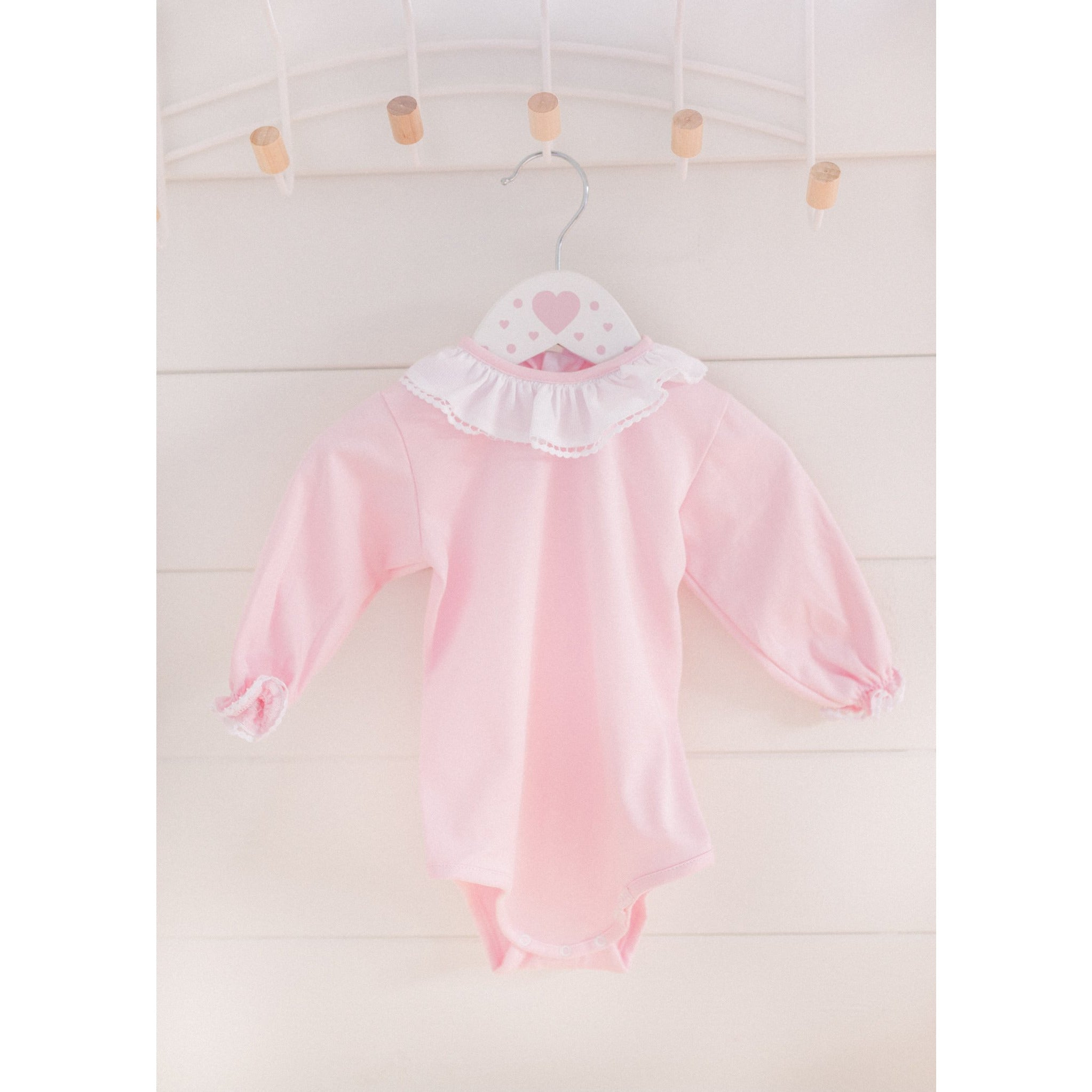 Pink and White frilly collar  baby vest