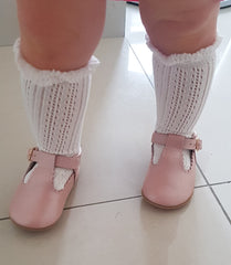 baby infant knee high white socks pelrine