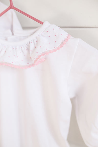 Frilly Collar polka dot baby vest