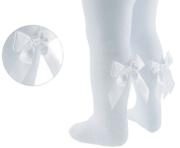 white baby bow tights