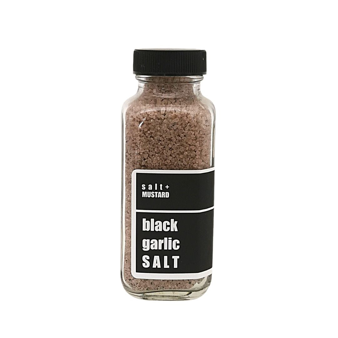 black garlic  SALT - salt + MUSTARD
