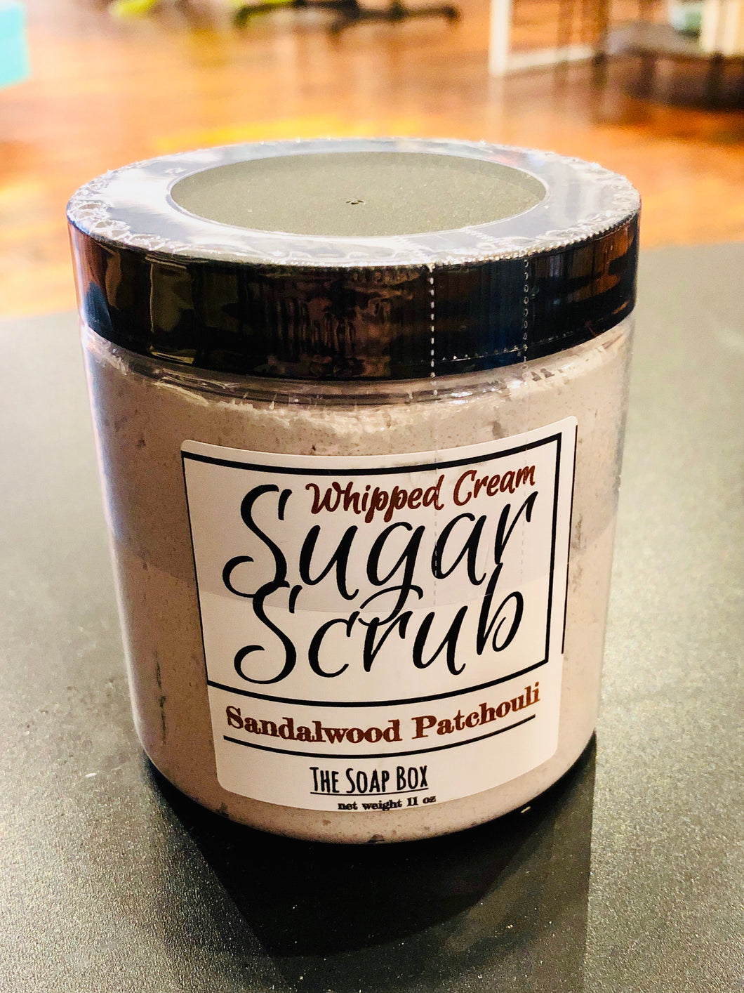 Sandalwood patchouli whipped sugar scrub