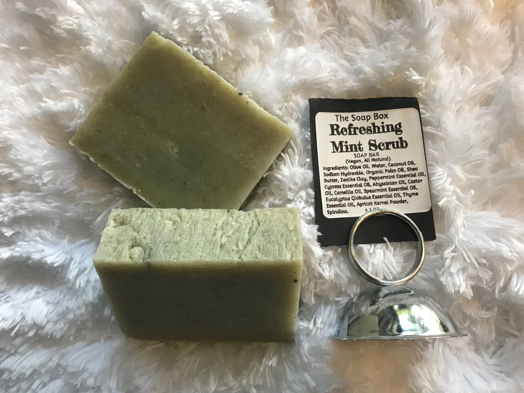 Refreshing mint scrub soap bar-Vegan