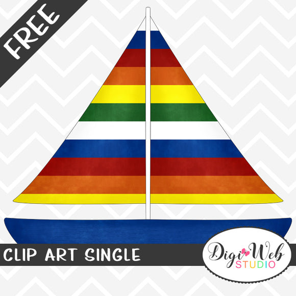 Free Sailboat with Rainbow Sails Clip Art Single