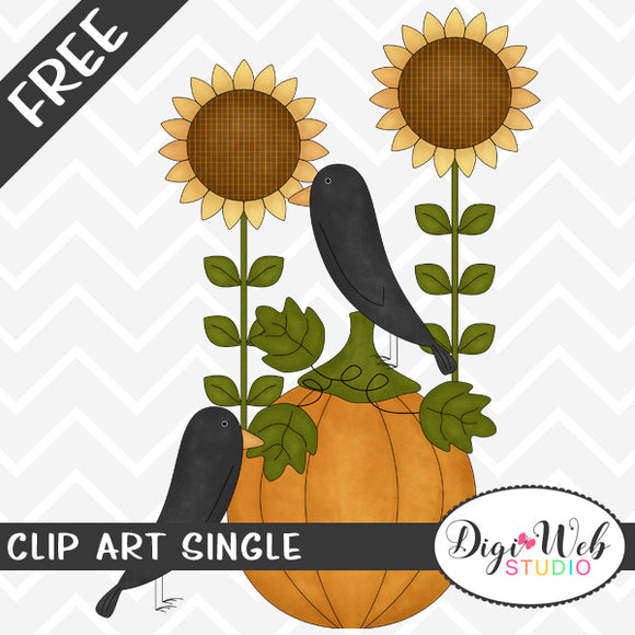 Free Crows with Sunflowers and A Pumpkin Clip Art Single