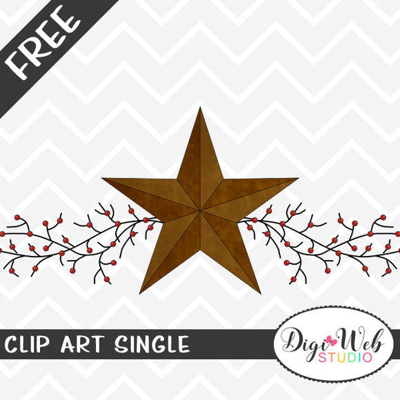 Free Primitive Star and Pip Berries Swag Clip Art Single