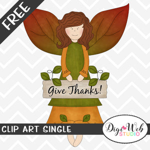 Free Give Thanks Autumn Angel Clip Art Single