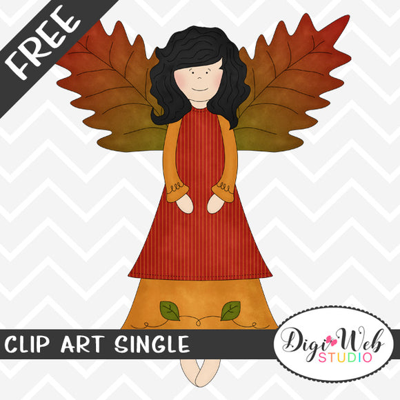 Free Fall Angel w/ Autumn Leaf Wings Clip Art Single