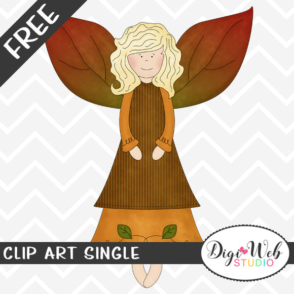 Free Autumn Angel w/ Fall Leaf Wings Clip Art Single