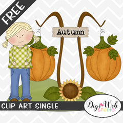 Free Autumn Girl With Pumpkins Clip Art Single