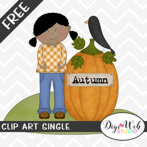 Free Autumn Girl With A Pumpkin and Black Crow Clip Art Single