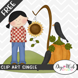 Free Autumn Girl With A Pumpkin and 2 Black Crows Clip Art Single