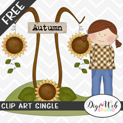 Free Autumn Girl With Sunflowers Clip Art Single
