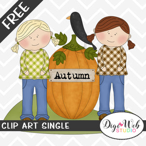 Free Autumn Friends With A Pumpkin and Black Crow Clip Art Single